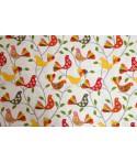 Mantel rectangular de algodón con forro impermeable incorporado. Diseño birds in red