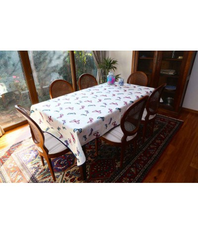 Mantel rectangular de tela repelente para líquidos con forro impermeable incorporado Diseño Mariposas