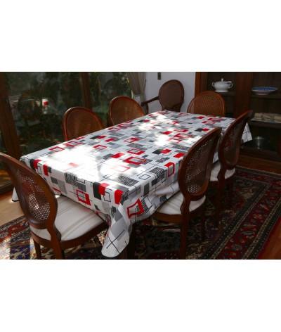 Mantel rectangular de tela repelente para líquidos con forro impermeable incorporado Diseño Modern Red