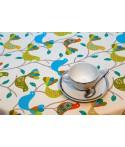 Mantel redondo de tela repelente para líquidos con forro impermeable incorporado Diseño BIRDS IN BLUE