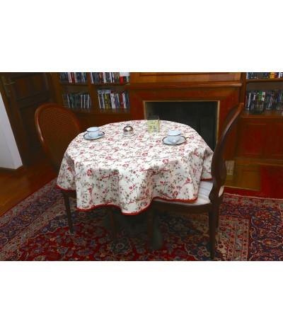 Mantel redondo de tela repelente para líquidos con forro impermeable incorporado Diseño ROSES FOR BRIAN - ROJO