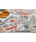 Mantel redondo de tela repelente para líquidos con forro impermeable incorporado Diseño LIFE IS BEAUTIFUL