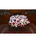 Mantel redondo de tela repelente para líquidos con forro impermeable incorporado Diseño Lovely Flowers