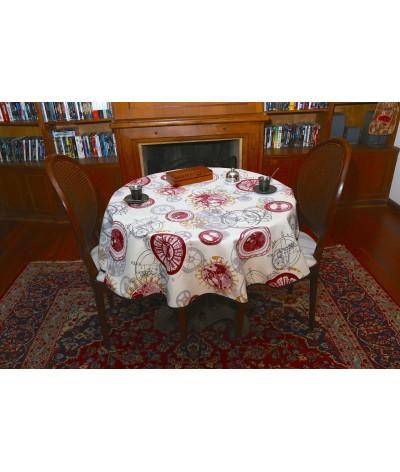 Mantel redondo de tela repelente para líquidos con forro impermeable incorporado Diseño RELOJES