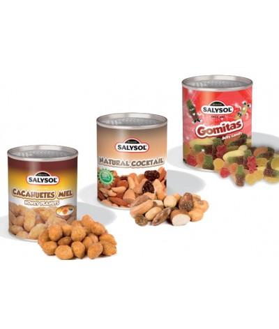Trío de cacahuetes miel, coctel natural, y gomitas