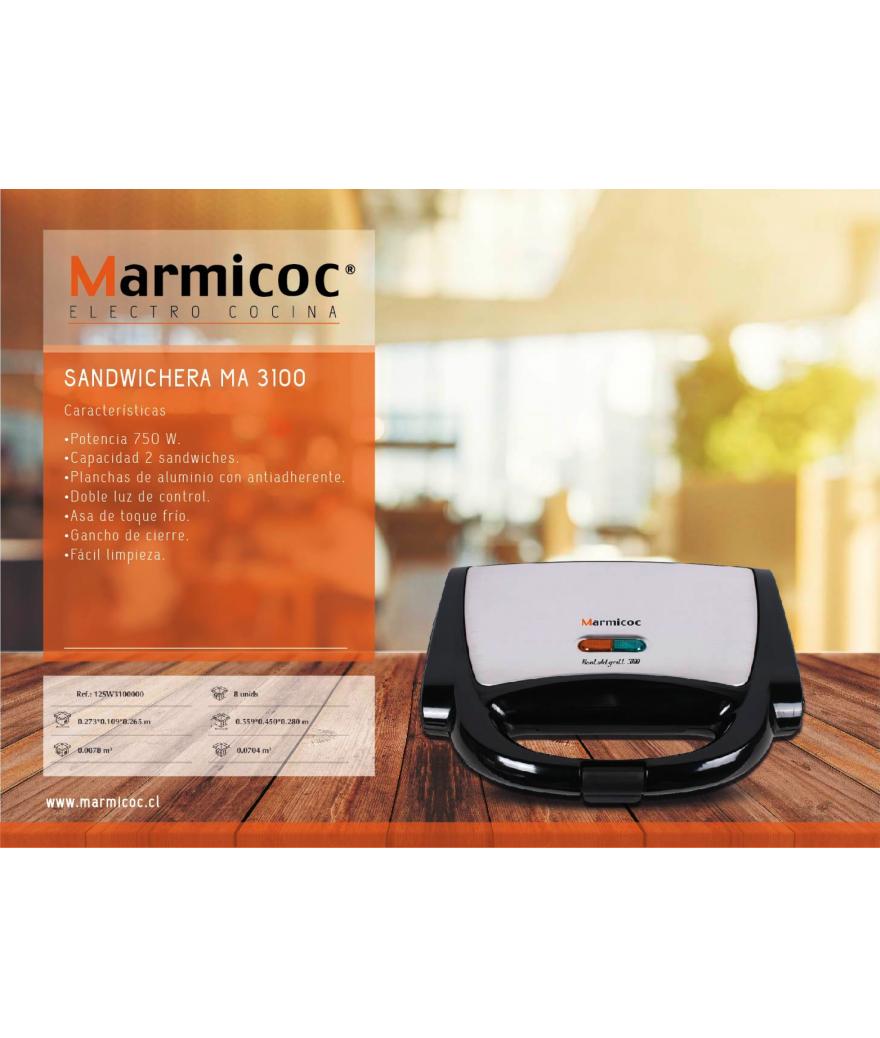 Sandwichera 2 panes 750 w Marmicoc