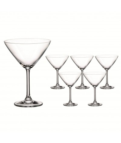 SET 6 COPAS MARTINI de Cristal de Bohemia