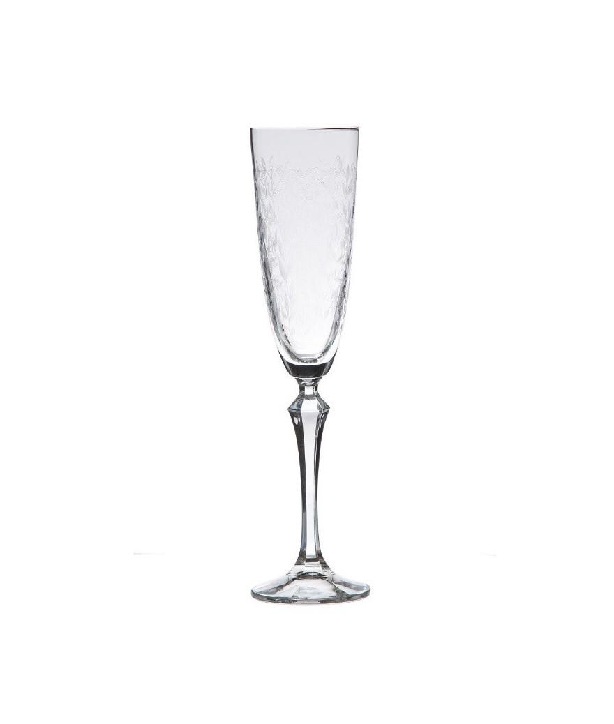 6 copas de cristal talladas de republica checa